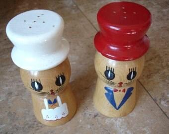 Vintage Wooden Salty & Peppy Shakers