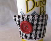 Reusable Coffee Sleeve Black and White Houndstooth with Red Stitching and Button