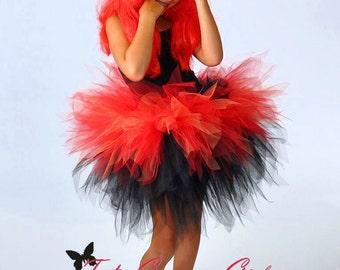 Red and Black Layered Pixie Tutu...Halloween Devil Tutu Costume...DARE DEVIL