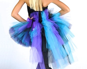 Rock Star Bustle Tutu...Turquoise Black Purple Bustle Tutu for girls...Halloween Costume, Portrait Tutu...Top Not Included....SO GLAM