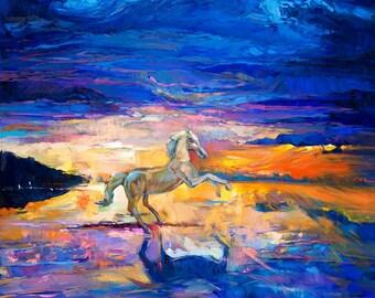 Original Oil White Horse 24x28in, Portrait Painting Original Art Impressionistic OIl on Canvas by Ivailo Nikolov