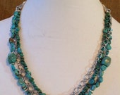 """22"""" Turquoise and Silver 3 Strand Necklace"""