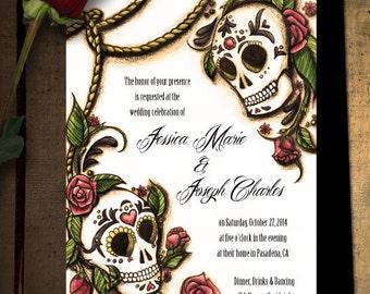 Dia de los Muertos Sugar Skull Wedding Invitations or Save the Dates