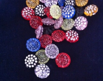 Blink Blink Rainbow Rhinestone Plastic Buttons / Sewing supplies / DIY craft supplies / Novelty Buttons / Party Supplies