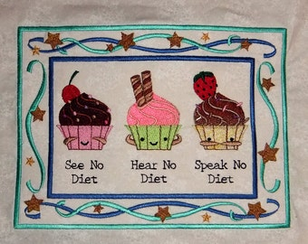 No Diet Cupcake Trio Tapestry (embroidered wall art)