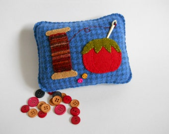 Blue Pincushion Pincushion - Novelty Pincushion - Prim Sewing Accessory - Folk Art Pillow - Tomato Pincushion