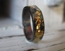 Man Wedding Band Man Wedding Ring Black Gold Ring Rustic Man Wedding Band Unique Wedding Band 6mm Artisan Wedding Ring