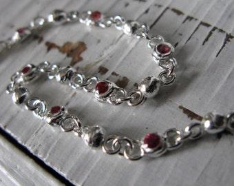 Genuine Ruby Bracelet Ruby Silver Bracelet Layering Bracelet Fine Silver Sterling Silver Link Bracelet Station Bracelet Unique Artisan