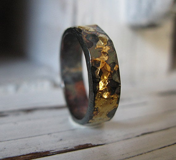 black gold wedding ring mens wedding band mens wedding ring black gold ring rustic 1851