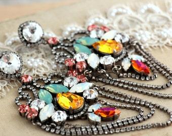 Statement Silver Chandelier earrings, Autumn Fall  Chandelier earrings,Silver Big earrings, Statement jewelry, Bridal jewelry
