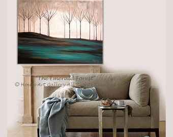 LARGE Original Abstract Tree Painting Forest Landscape Scenic Art Acrylic Emerald Green Fall Metallic Modern Contemporary Gold Silver 40x30