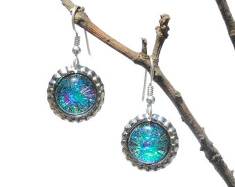 Mini Bottle Cap Dichroic Glass Earrings, Fused Glass Jewelry, Sterling Hooks - Galaxy, Nebula, Fireworks - Bright Colors (Item #30824-E)