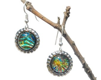 Mini Bottle Cap Dichroic Glass Earrings, Fused Glass Jewelry, Sterling Hooks - Galaxy, Nebula, Fireworks - Bright Colors (Item #30832-E)
