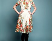 Womens party dress, 50s dress, wool dress, floral print dress, made to order dress, plus size dress by Mrs Pomeranz