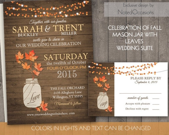 Rustic Fall Wedding Invitations: Rustic Fall Wedding Invitation Set Fall Leaves Mason Jar