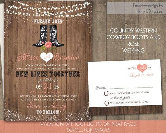 Western Wedding Invites: Country Western Wedding Invitation Set Cowboy By