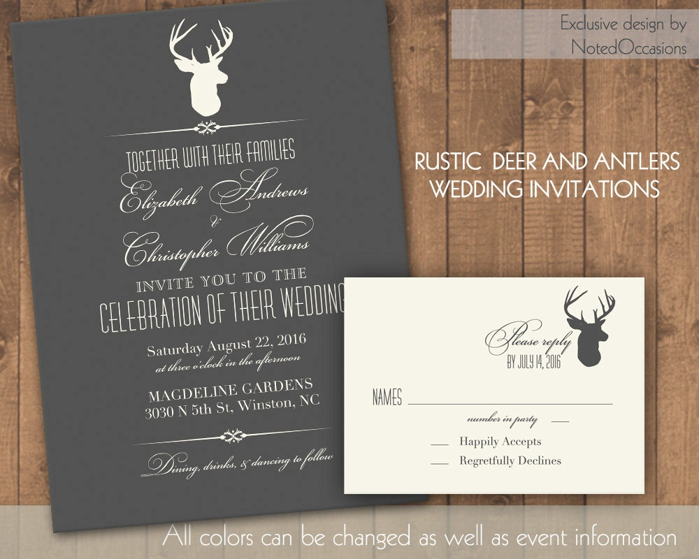 Deer Wedding Invitations: Deer Wedding Invitation Rustic Wedding By NotedOccasions