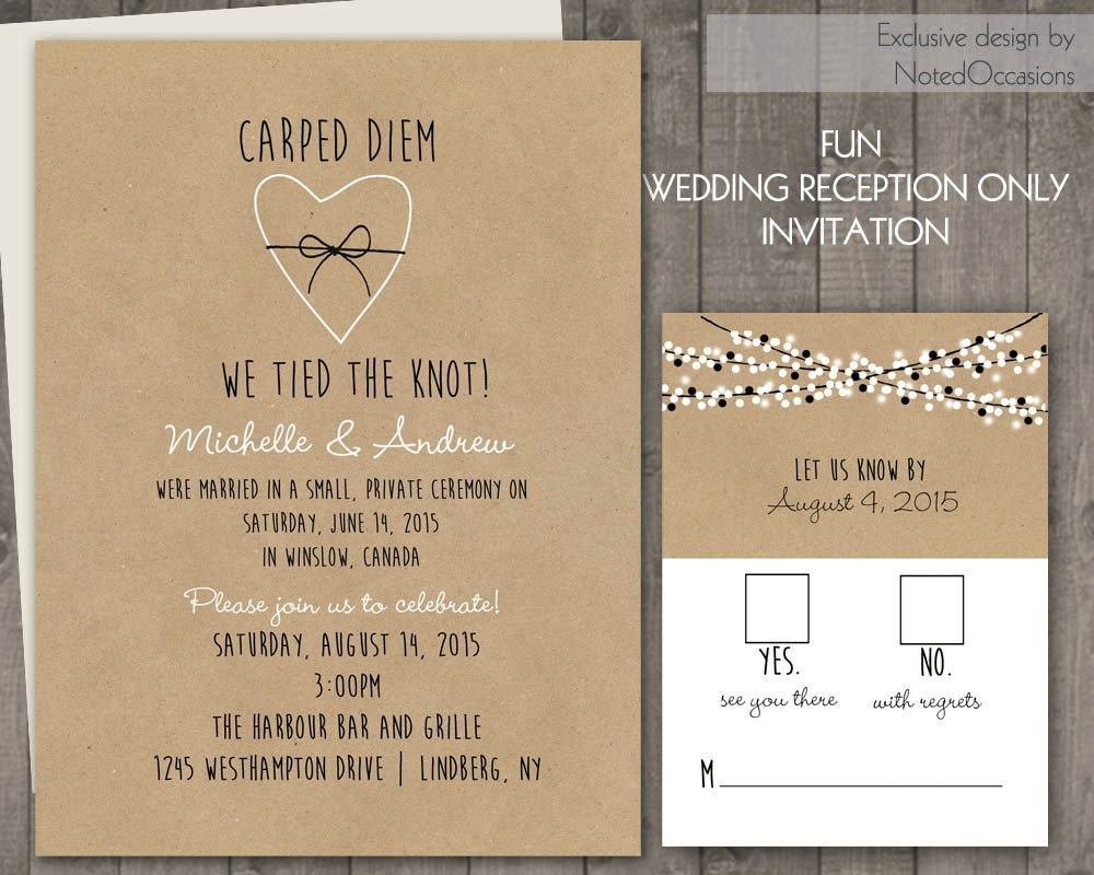 Wedding Reception Invite Wording: Wedding Reception Only Invitations On Kraft By NotedOccasions