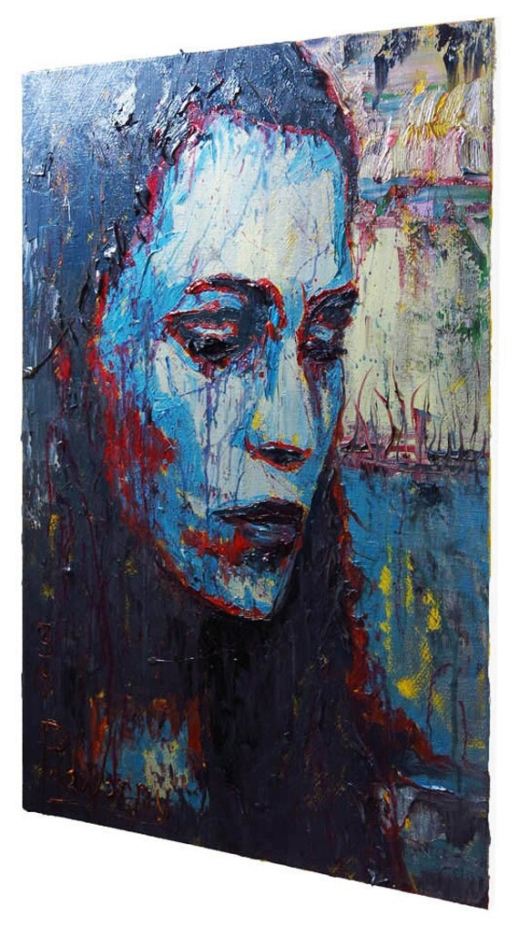 SOLD - Oil Paint on Gallery Wrapped Stretched Canvas 36 by 24 by 3/4 in. / Oil Painting Portrait Canvas Fine Art On Pop RealismImpressionist