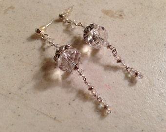 Crystal Earrings - Silver Jewelry - Clear Jewellery - Dangle - Fashion - Glam - Wedding
