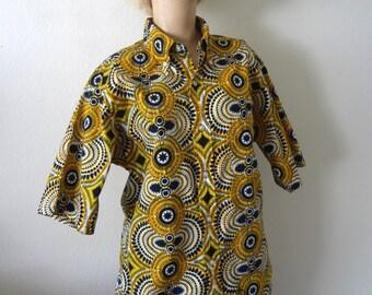 1960s Ethnic Print Shirt / vintage hand blocked cotton button front shirt
