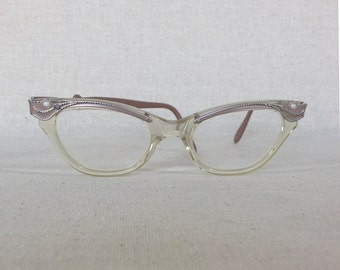 1950s Rose Gold and Pearl Cat Eye Glasses