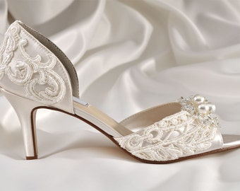 """Wedding Shoes -  Wedding Lace Shoes- 2 1/2"""" Heels- Peep Toes- Swarovski Crystals and Pearls - Bridal Shoes, Custom Dyed Colors, The Abigale"""