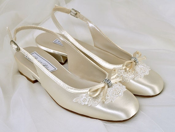 Flower Girl Wedding Shoes Vintage Lace Sling Backs Wedding Flower
