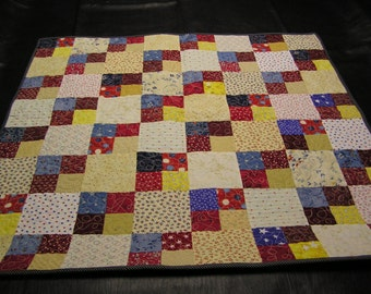 Red, White, Blue and Gold Baby Quilt