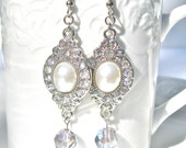 "Dangle Bridal Earrings, White Pearls And Crystals, Neoclassical Style, Prom Style, Hollywood Regency Style, ""Queen For A Day"""