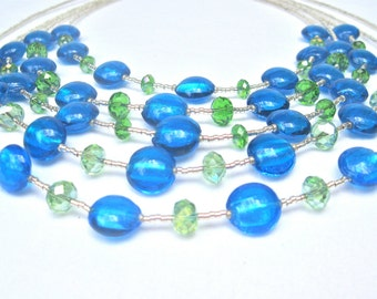 "Blue And Lime Green Multistrand Statement Necklace, Bib Style, High Fashion Style, Boho Style, Urban Chic, ""Blue Cascade"""