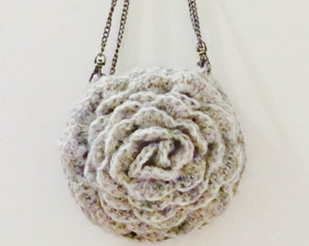 CROCHET PATTERN instant download - Ruffled Chic Bag - grey gray cute unique beautiful rose flower purse tutorial