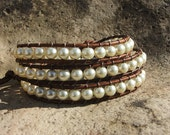 Leather Wrap Bracelet-Pearls on brown leather