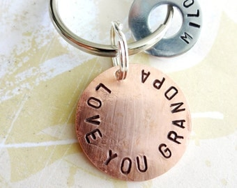 Personalized Grandpa Keychain - Hand Stamped Key Chain - LOVE YOU GRANDPA Washer Key Chain and Copper Disc