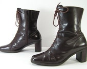 ankle boots womens 7 B M brown boots zipper heeled booties leather square toe
