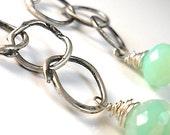 Silver Chain Chrysoprase Green Dangle Earrings . Handmade Triple Solid Loops