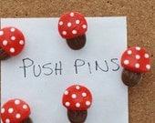 Push pins thumb tacks Mushrooms handmade polymer clay push pins ( 5 )