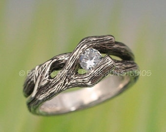 ETERNAL SPRING Wedding Ring.  This Twig ring made to order in sterling with White Sapphire