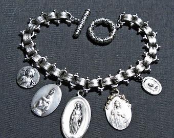 Hand Made Silver Plate Vintage Religious Catholic Saints Medal  Bracelet