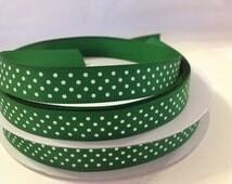 "10 Yds WHOLESALE 3/8"" Green Swiss Dot grosgrain ribbon LOW Shipping Cost"