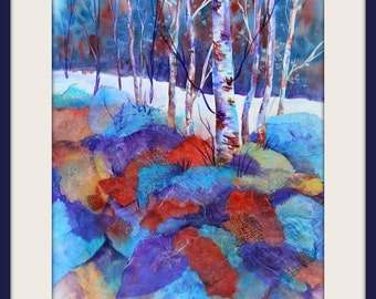 Watercolor Collage of Aspen Birch Trees and Rocks by Colorado Artist Martha Kisling