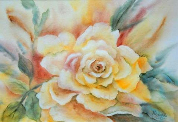ART SALE - Watercolor Large Rose Yellow Gold by Colorado Artist Martha Kisling