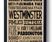 Westminster, London (Bayswater,Pimlico,Maida Vale) Typography Wall Art Poster