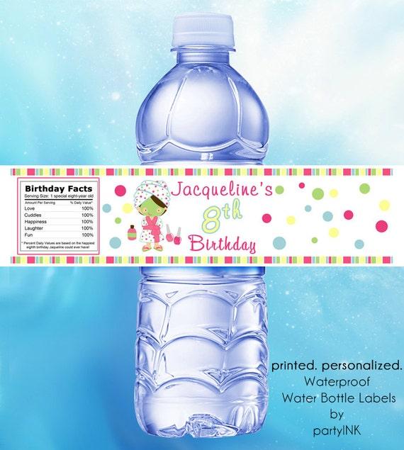 Personalized Spa Party Waterproof Water Bottle Labels
