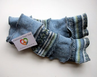 Arm Warmers, Fingerless Gloves with Thumb Holes - Blue/Green