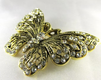 Butterfly Brooch - Antique Gold and Clear Crystals Vintage Style  Brooch for bridal bouquet or jewelry decoration