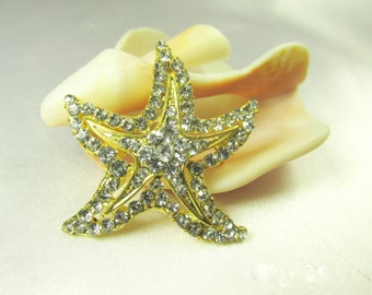 Starfish Brooch in Gold and Crystal 1 3/4 inches for brooch bouquet or jewelry decoration