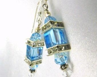 Sky Blue Aquamarine AB aurora borealis Swarovski Cube Lantern Earrings on Sterling Silver