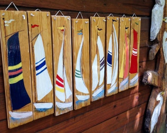 """Set of 8 Sailboats 24"""" painted on heart of pine reclaimed wood rope hanger nautical colorful beach home upcycled art rustic maritime decor"""