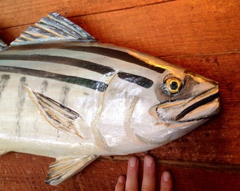 """Bonito 30"""" chainsaw wood carving hand painted fish wall mount nautical home accent beach decor fishing retreat original art indoor outdoor"""